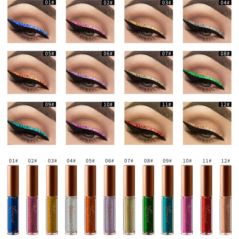 1pc Makeup Shiny Smoky Eyes Eyeshadow Waterproof Glitter Liquid Eyeliner Cosmetic Party Xmas Decor