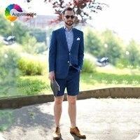 short pants summer beach navy blue wedding men suits groom tuxedo prom wear groomsmen suits costume homme terno masculino