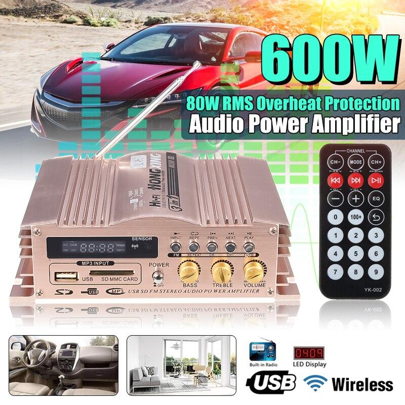 KROAK Mini Hi-Fi 600 Вт 2 CH стерео аудио усилитель мощности USB SD FM Автомобильный мотоцикл