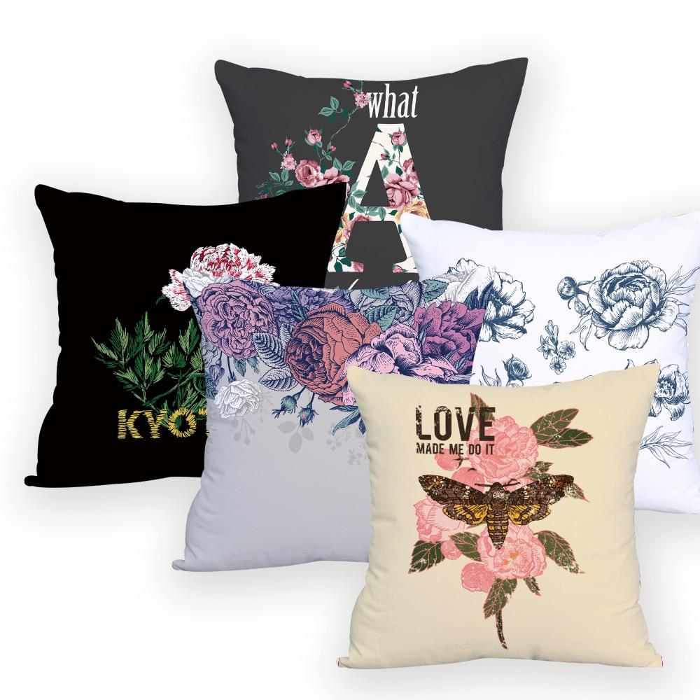 Funda de almohada, cojín de flores para niños, al por mayor, funda de almohada con letras geométricas, funda decorativa pintada para sofá o silla