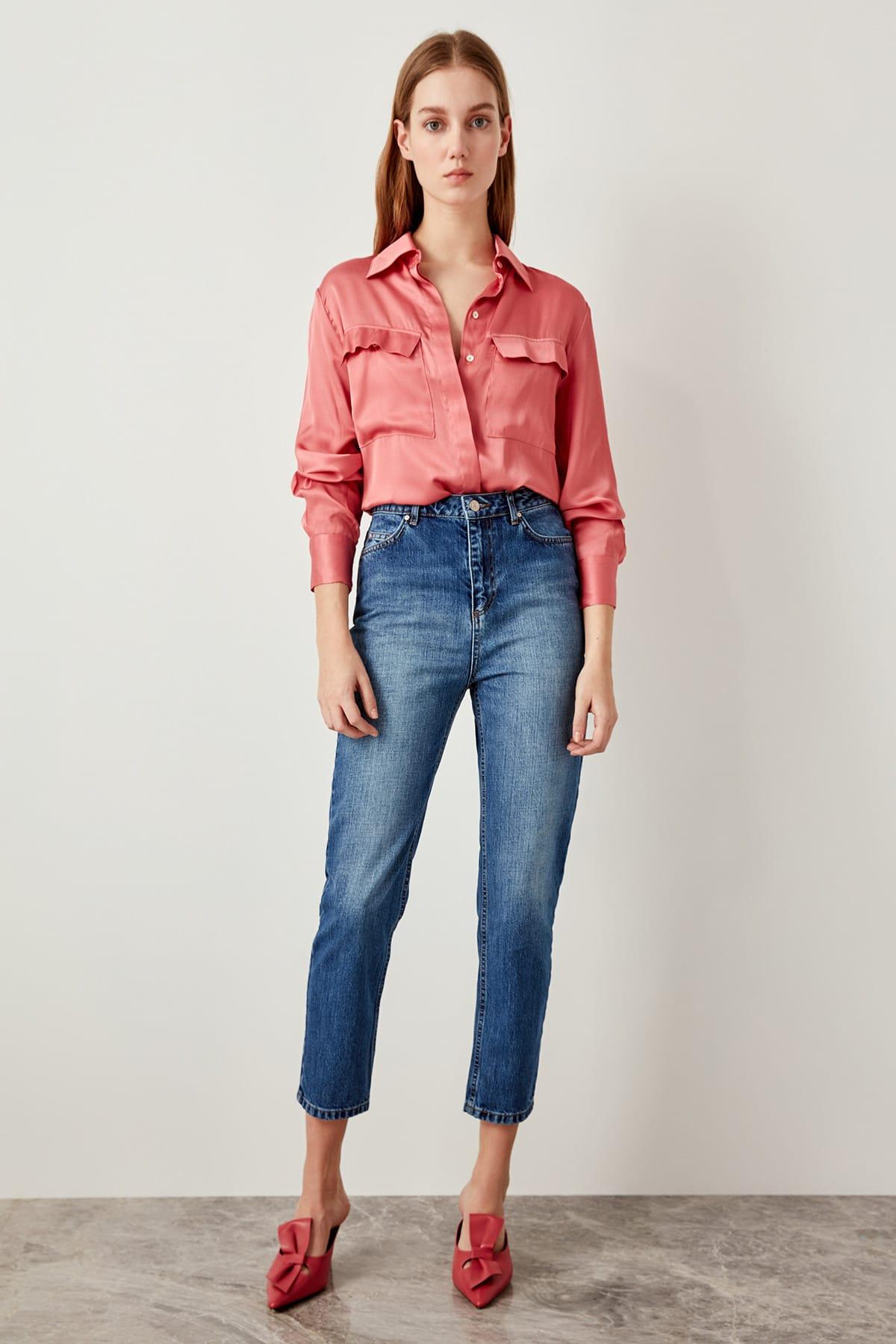 Trendyol azul negro alta cintura Jeans mamá Denim TCLSS19LR0126