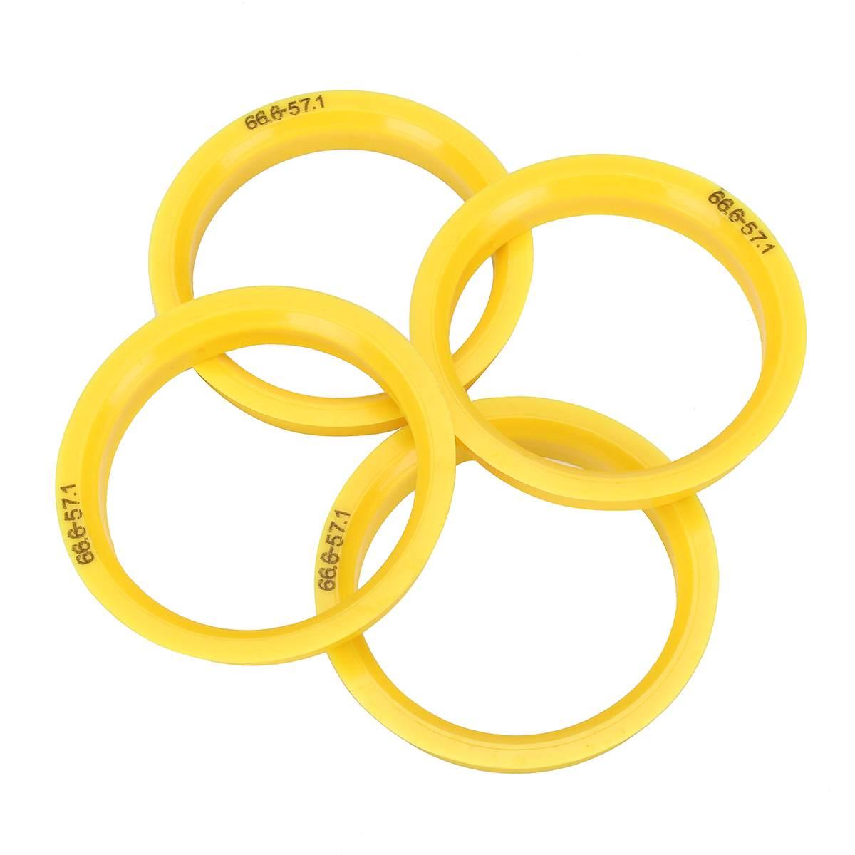 4 шт. пластиковое колесо центриковое кольцо 66,6 мм-57,1 мм разделители ступицы для VW для Audi для Skoda для Seat желтая Ступица колеса