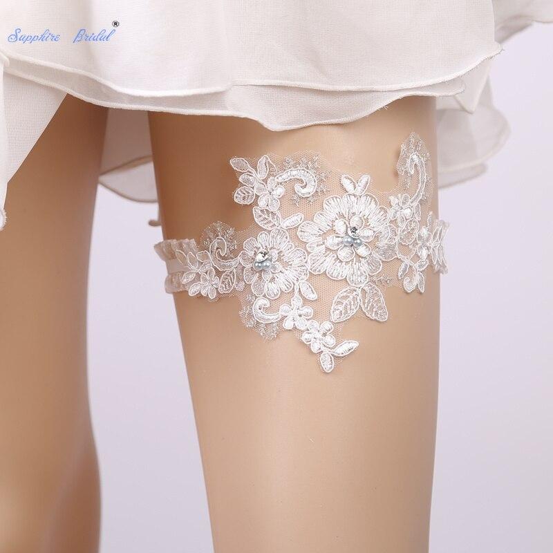 Liga de encaje blanco nupcial de zafiro con encaje de flores para boda 1 unid/set elástico para mujeres/novia/mujer muslo anillo nupcial pierna Liga