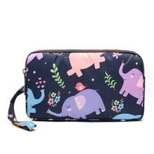 Floral Pattern Long Wallet Fashion Women Wallets Phone Wristlet Bags Waterproof Nylon 3 Zipper Clutch Coin Purse Travel Make UP