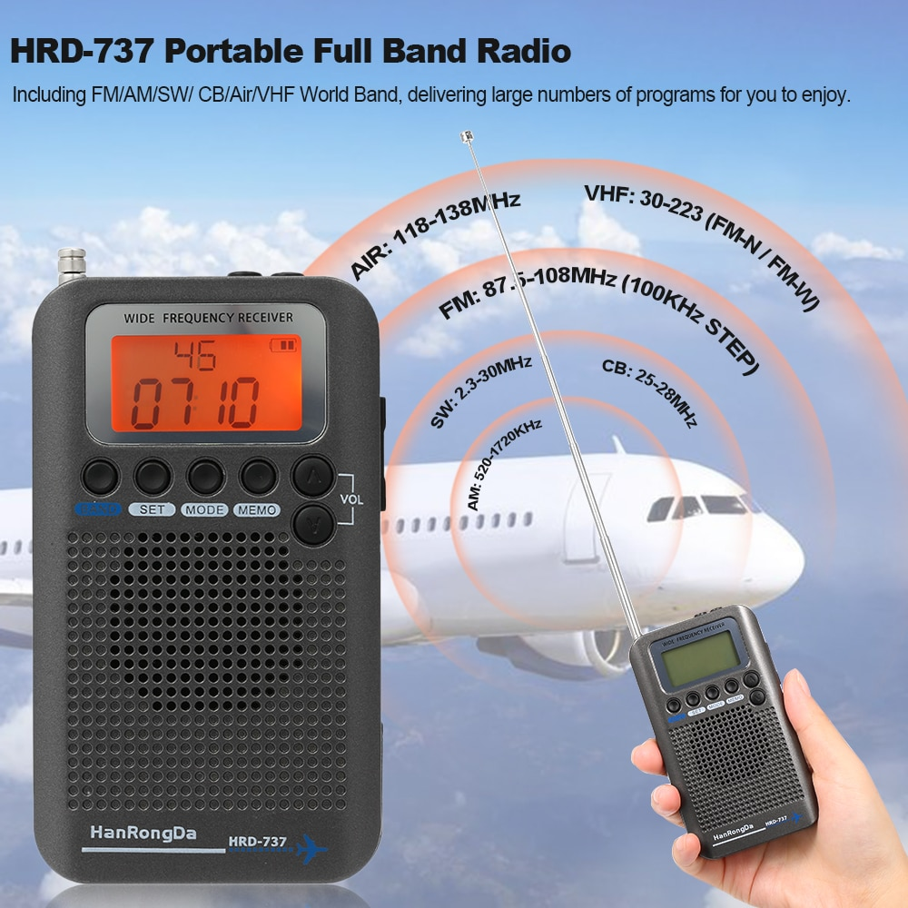 HanRongDa HRD-737 Tragbare Full Band Radio Aircraft Band Empfänger FM/AM/SW/ CB/Air/VHF welt Band mit LCD Display Alarm Uhr