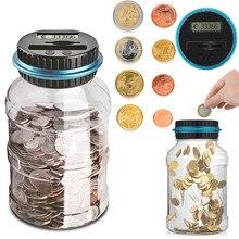 أصبع البنك عداد عملة 1.8L الإلكترونية الرقمية LCD عد عملة صندوق توفير المال جرة العملات صندوق تخزين لالدولار الأمريكي/اليورو/الجنيه