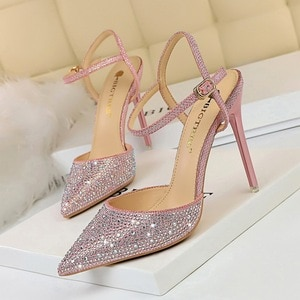 Fashion Shoes Women's Sandals With Rhinestones Buckle Party Shallow One Word Bring 34 35 36 37 38 39 40 Red Green Black Gray