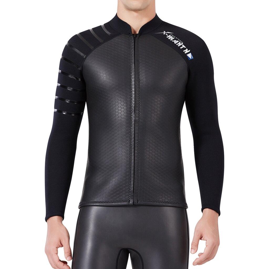 Wetsuit superior dos homens premium 3mm neoprene mergulho terno jaqueta longa mangas elásticas mergulho surf mergulho terno molhado superior