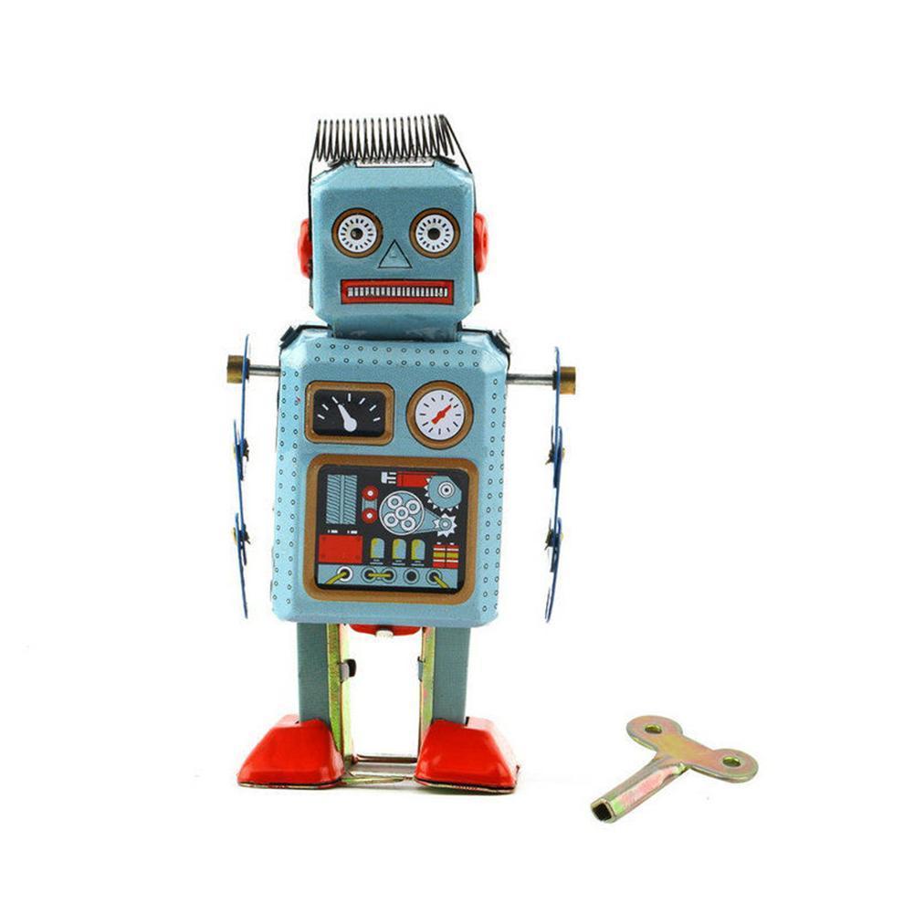 Vintage mecánico de cuerda de Metal de cuerda de juguete de robot...