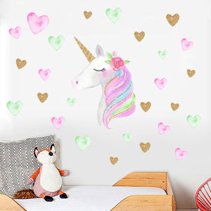 Unicorn Wall Sticker Kids Bedroom Stickers Removable Home Decor Decal Mural
