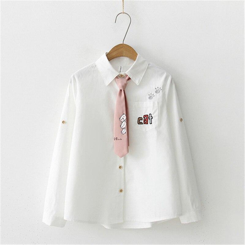 Blusas de mujer con dibujos Kawaii, blusas con bordado elegante y corbata, camisetas de primavera estilo japonés con cuello vuelto bonito para estudiantes, camisas de manga larga