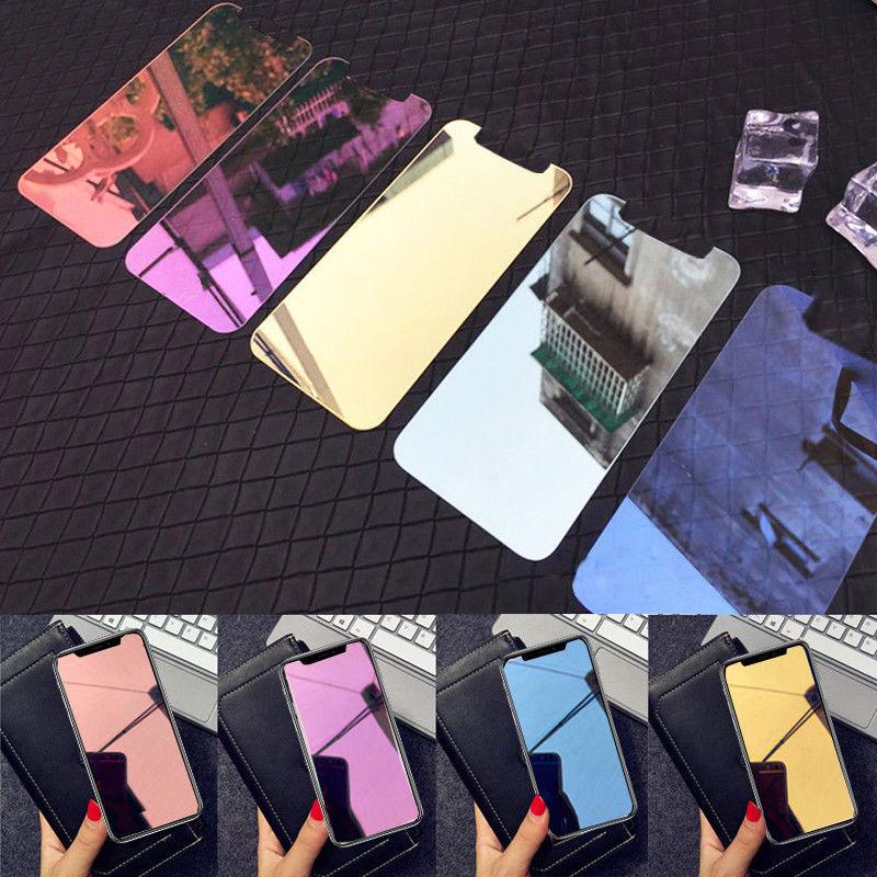 Capa de vidro temperado espelho colorido para iphone 11 pro x xs max xr 6s 7 8 plus se filme protetor de tela temperado para 7 8 plus