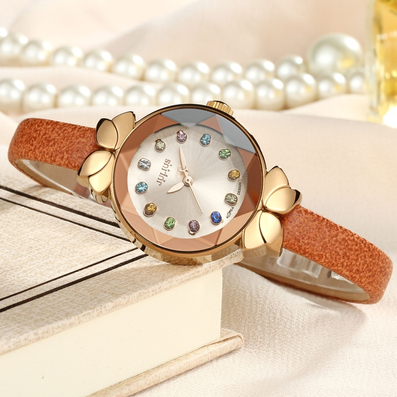 أفضل يوليوس سيدة ساعة نسائية ميوتا لطيف ملون كريستال عقدة موضة ساعات الجلد الحقيقي سوار حريمي صندوق هدية طفلة