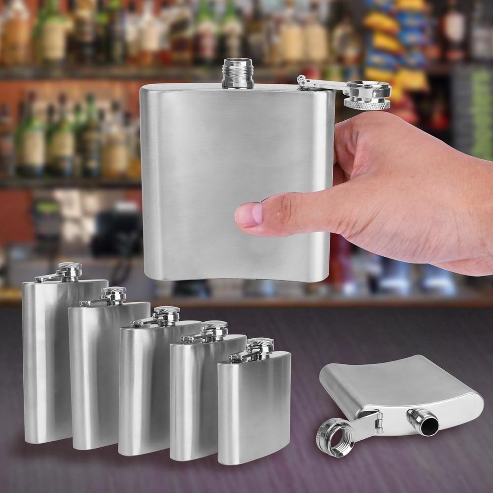 1oz-10 oz Pocket Wine Whisky Hip Flask Portable Stainless Steel Vodka Rum Hip Flask For Alcohol Best Gift Flagon Wine Bottle