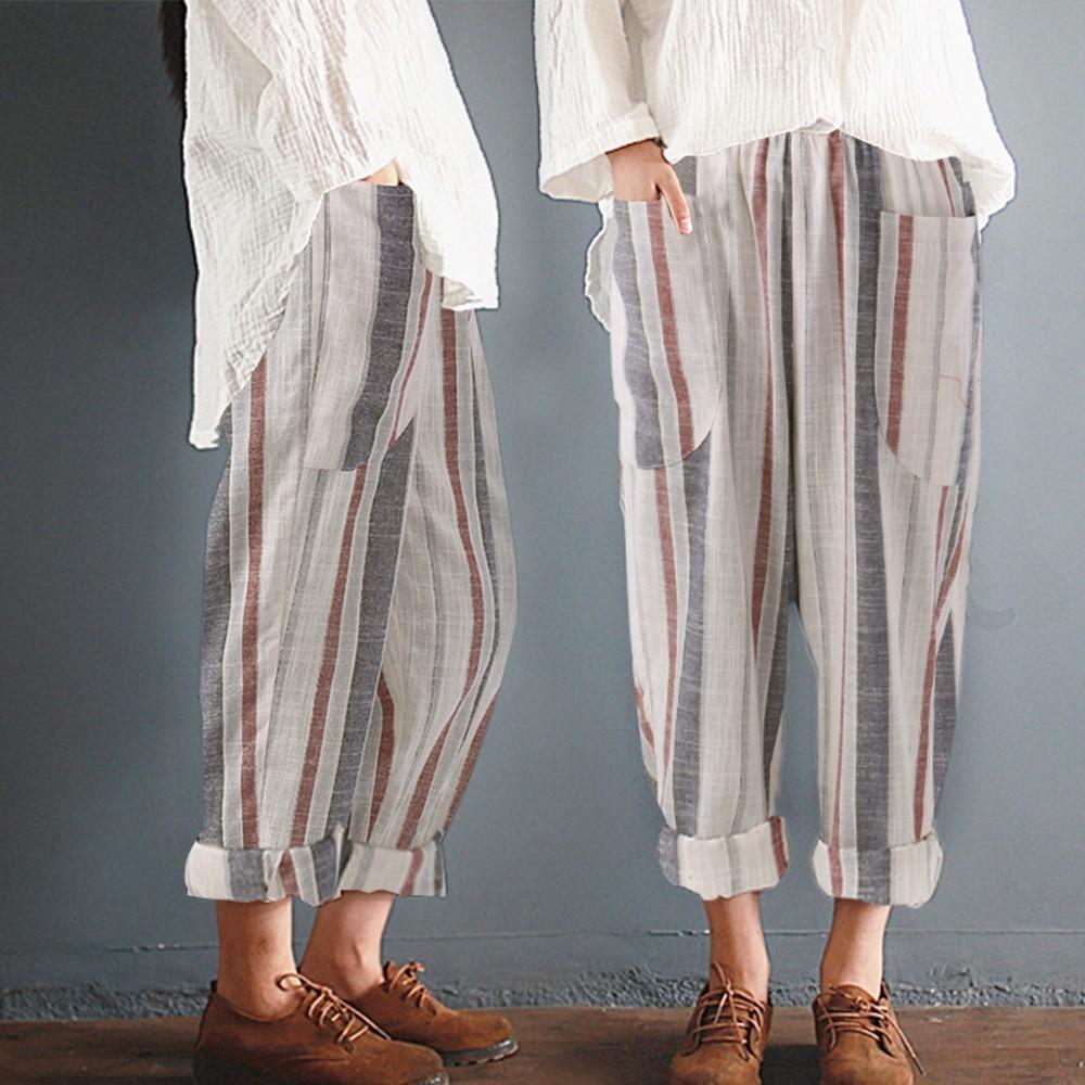 Plus Size Cotton Linen Trousers Women Summer Loose Harem High Waist Stripe Pocket Pant Casual Pantal