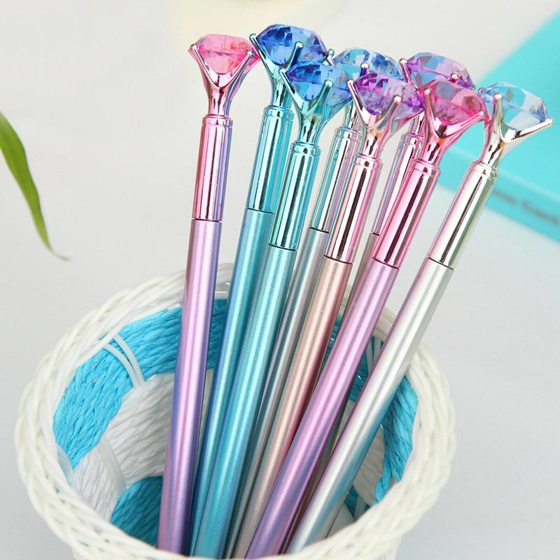 Cute Gel Pens 0.5mm Creative Diamond Pens Kawaii Colored Plastic Neutral Pens For Kids Writing School Office Supplies Stationery