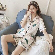 Sommer Seide Satin Pyjamas Short Pyjama Set Blume Nachtwäsche Pijama Pyjamas Anzug Weibliche Schlaf Lounge Loungewear Große Größe M-5XL