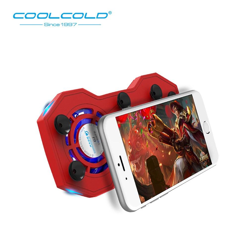 COOlCOLD, almohadilla de enfriamiento para teléfono móvil, ventiladores enfriadores silenciosos para juegos, radiador con soporte de anillo con batería externa recargable de 2000mAh