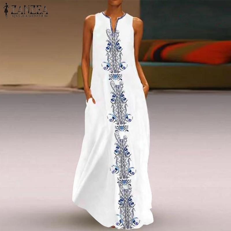 Zanzea 2019 verão mulheres vestido de verão sem mangas com decote em v sarafans maxi vestido vintage estampado vestidos longos kaftan robe femme plus size