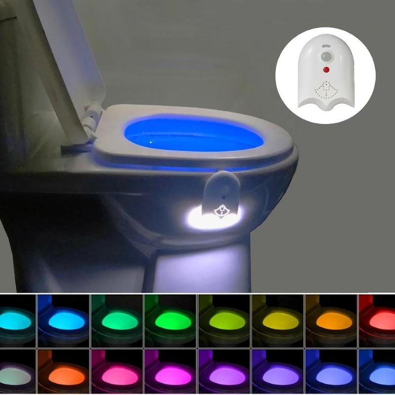 Smart PIR Motion Sensor Toilet Seat Night Light 16 Colors Waterproof Backlight For Toilet Bowl LED Lamp USB Toilet Bowl Lamps