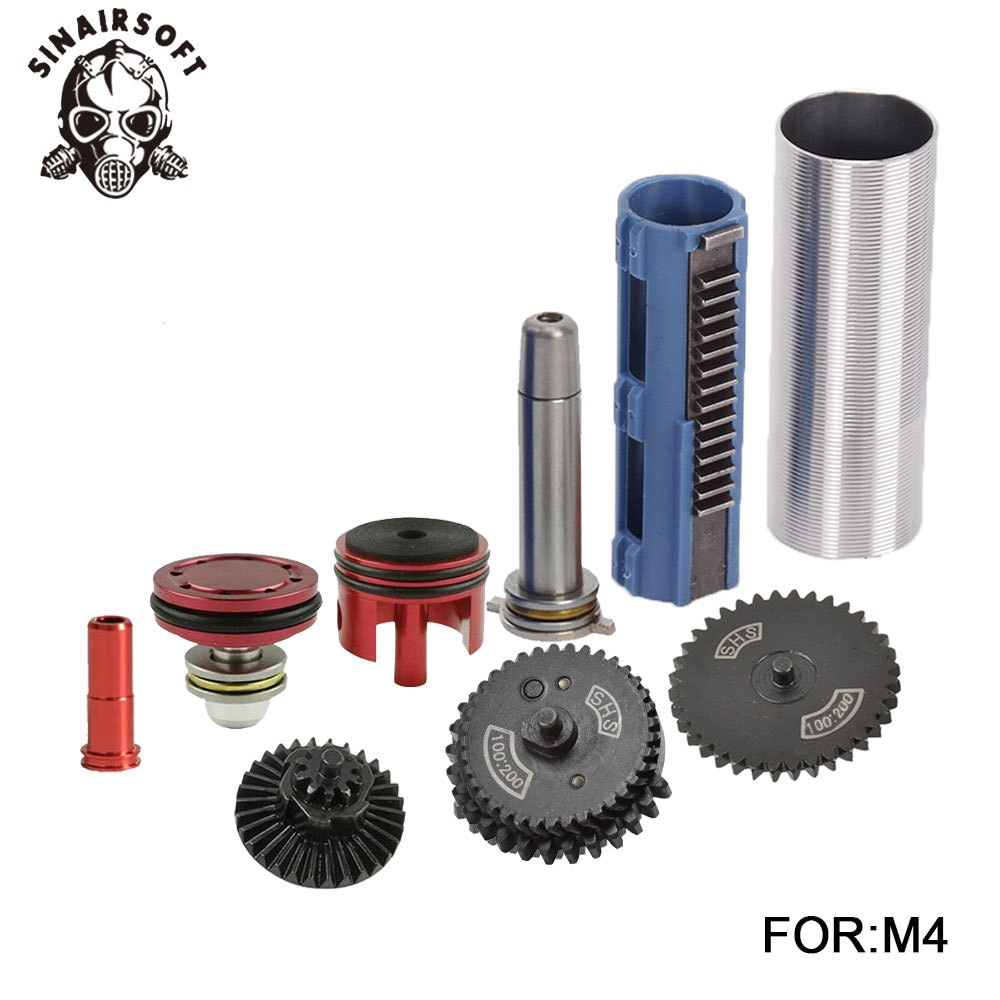 SINAIRSOFT 100:200 Gear Nozzle Cylinder Spring Guide 14 Teeth Piston Kit Fit Airsoft M4 MP5 AK G36 Paintball Hunting Accessories