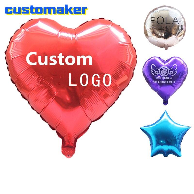 50 pcs 18 polegada folha De Alumínio balão festival de balão de publicidade impressão do logotipo personalizado feito sob encomenda da marca padrão de decoração do casamento
