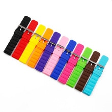 Silicone strap 20mm watch accessories pin buckle outdoor sports waterproof watch belt for women and