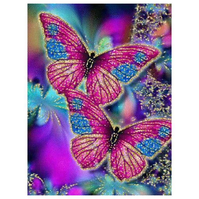 "100% 5d Diy pintura de diamante de imitación ""mariposa colorida"" pintura de diamantes de imitación redondos 3d pintura de diamantes de imitación bordado Anima"