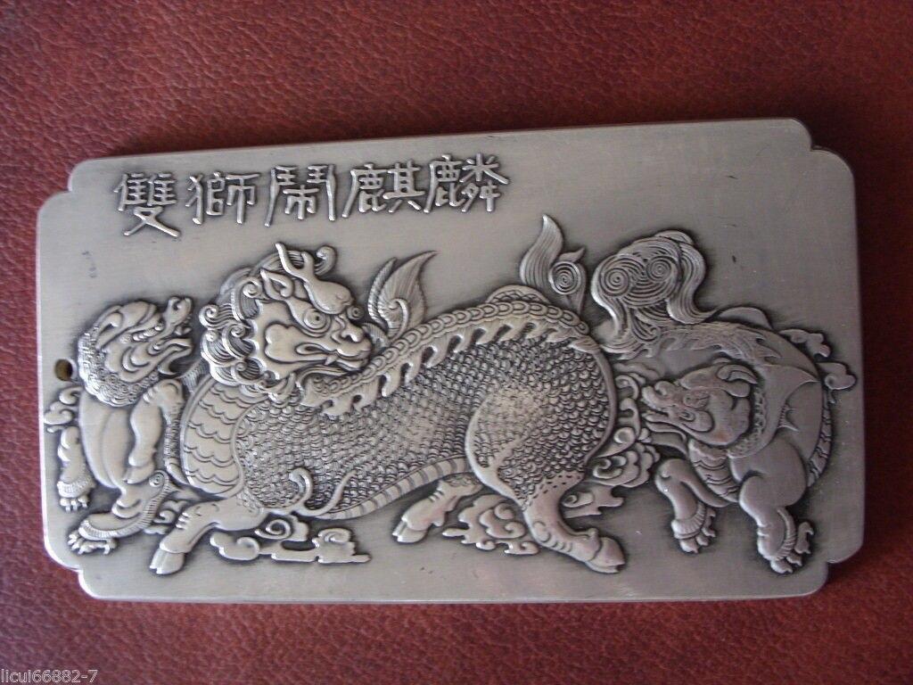 Chinês velho tibete Prata Dois leões jogar com Kirin Bullion thanka amuleto thangka