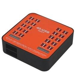 WLX-840 usb carregador 200w 40-port usb carregador de parede dupla display digital estação de carregamento inteligente com plugue dobrável para iphone ip