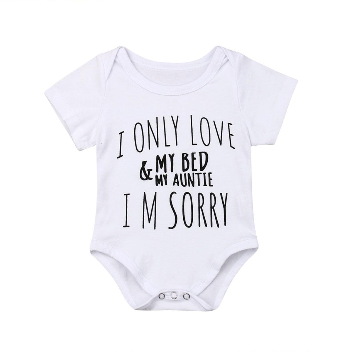 Prendas de bebé niño recién nacido Ropa bebé niña amor mi tía manga corta traje de baño trajes