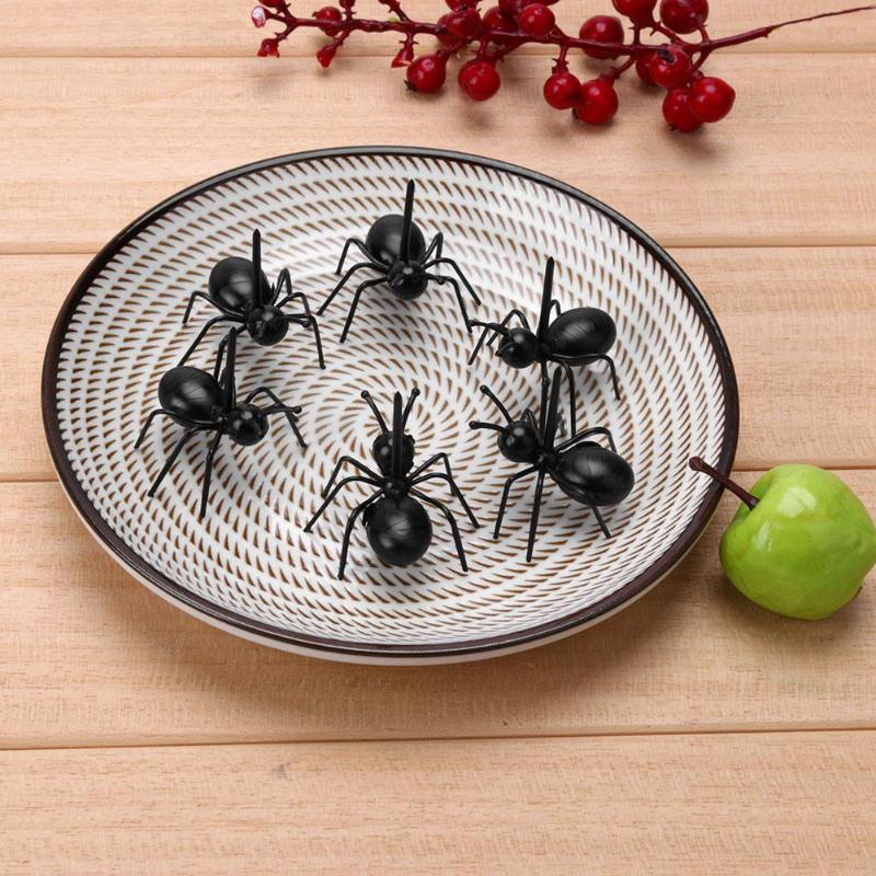 Lote de 12 unidades de tenedores multiusos reutilizables de hormigas, bonitos juguetes de mordaza para niños, regalos de cumpleaños para fiestas de cocina, divertidos juguetes Squish
