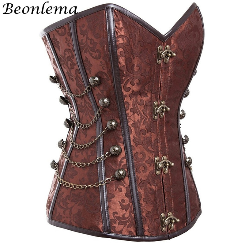Beonlema Steampunk Overbust Espartilho Para As Mulheres Do Vintage Marrom Sexy Clubwear Bustier Femme Plus Size 6XL Korset Grande Venda Do Punk Goth