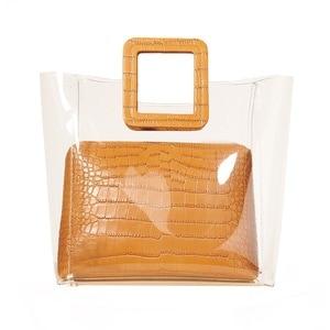 Ladies Clear Bag PVC Plastic Transparent Bag Korea Causal Seaside Tote Summer Beach Bag Lady Handbag Composite Bag 2pcs