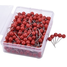 100 pièces Mini punaises rondes tête de boule carte punaises avec pointe en acier inoxydable pour bureau maison artisanat bricolage marquage punaises (noir/rouge)