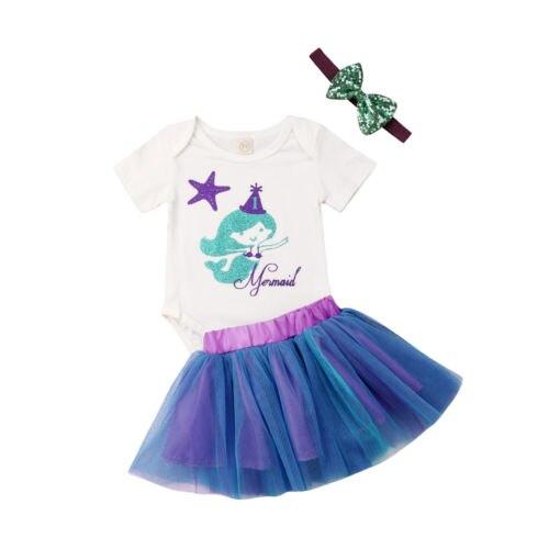 3PCS Newborn Infant Baby Girl Clothes Outfits Set Bodysuit Short Sleeve TuTu Skirt Headbands 3pcs Clothes Baby Girls 0-24M