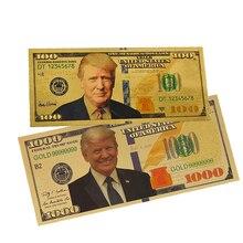 Lot de billets Donald Trump   Ensemble de billets en or plaqué or 100 USD, en feuille dor, Collections de billets cadeaux KY, 10/20/50/100/1000 pièces