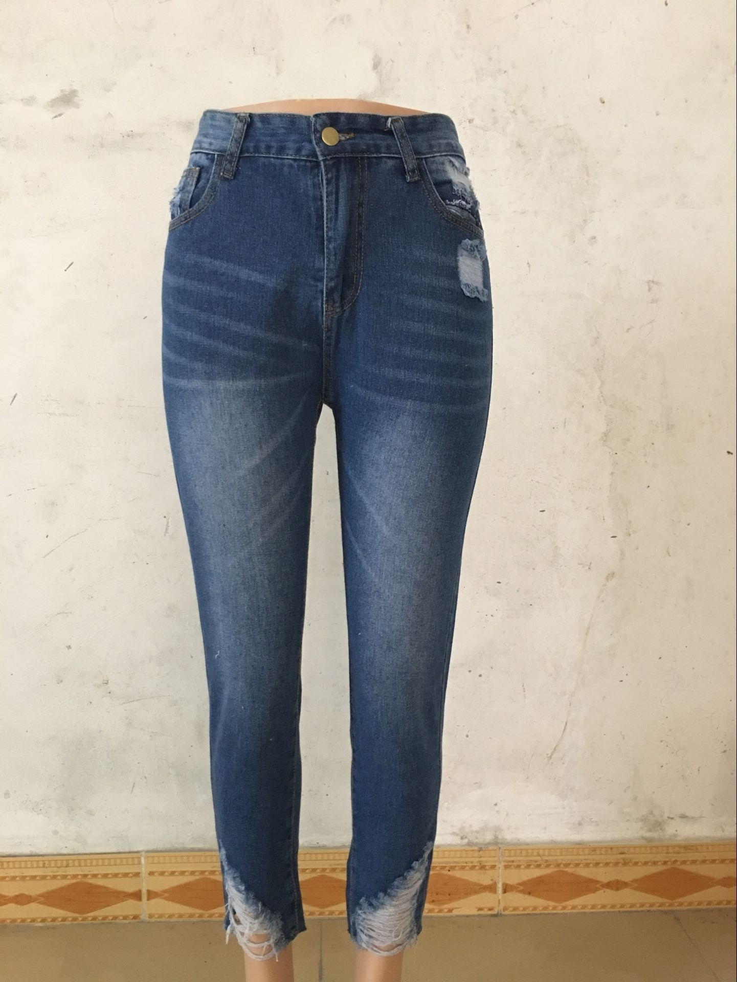 New Ripped Tassel Jeans For Women Ankle-Length High Waisted Jeansy Blue Casual Pencil Jeans Korean Streetwear Denim Pants Femme