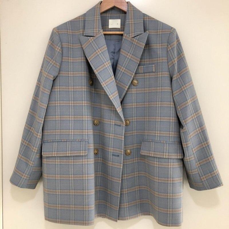 Blusa de moda para mujer primavera 2020 nuevo traje suelto informal para mujer doble botonadura con bolsillos chaqueta elegante estampada a cuadros