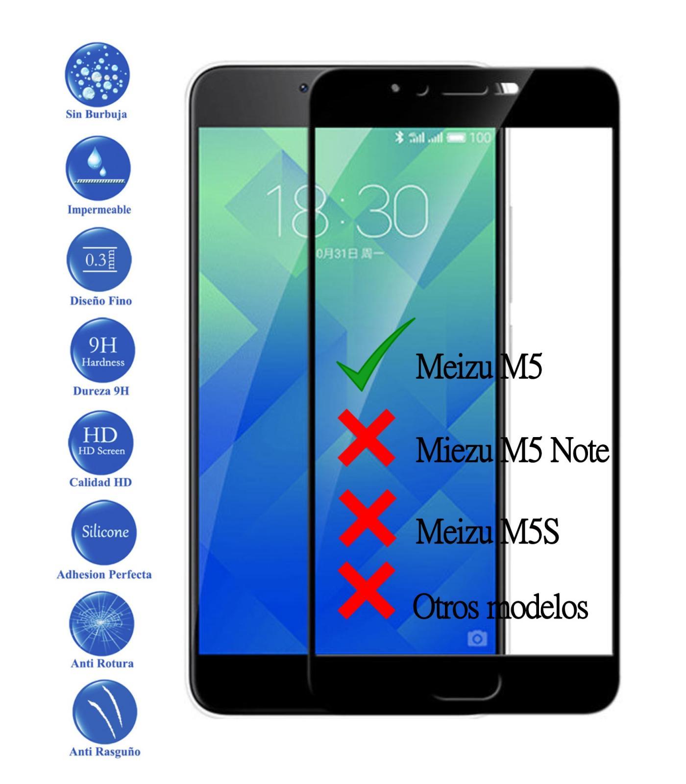 Protector de Pantalla Cristal Templado Completo Premium para Meizu M5 Negro