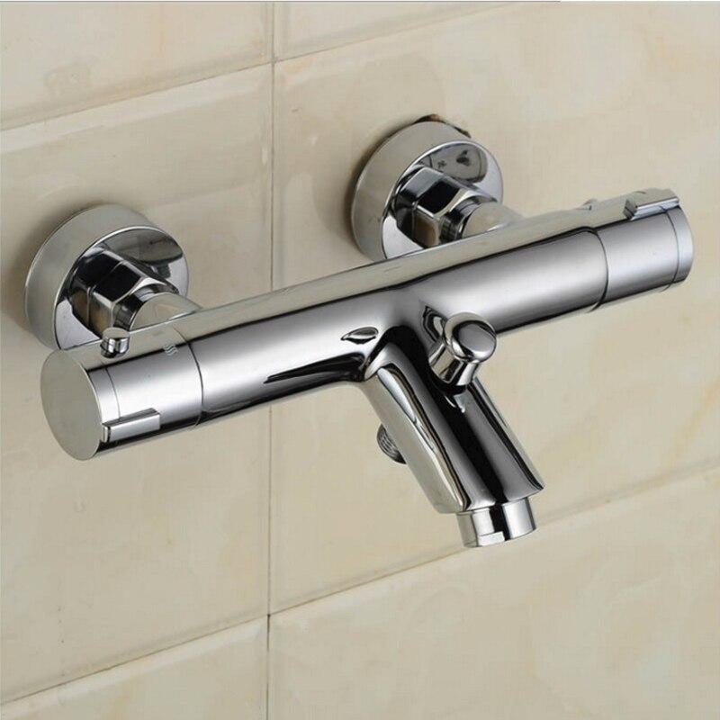 ¡Nuevo diseño! grifo de ducha termostático de latón macizo cromado pulido con Válvula mezcladora de ducha de ángulo curvo, accesorios de baño