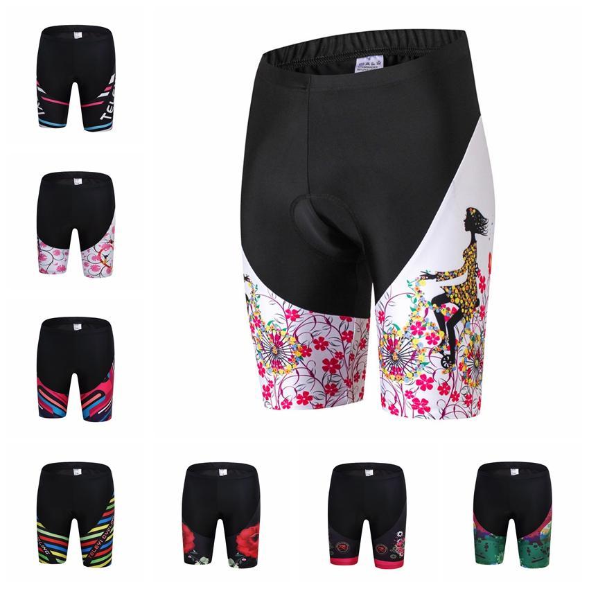 Teleyi-pantalones cortos de ciclismo Coolmax para mujer, con almohadilla 5D de Gel,...