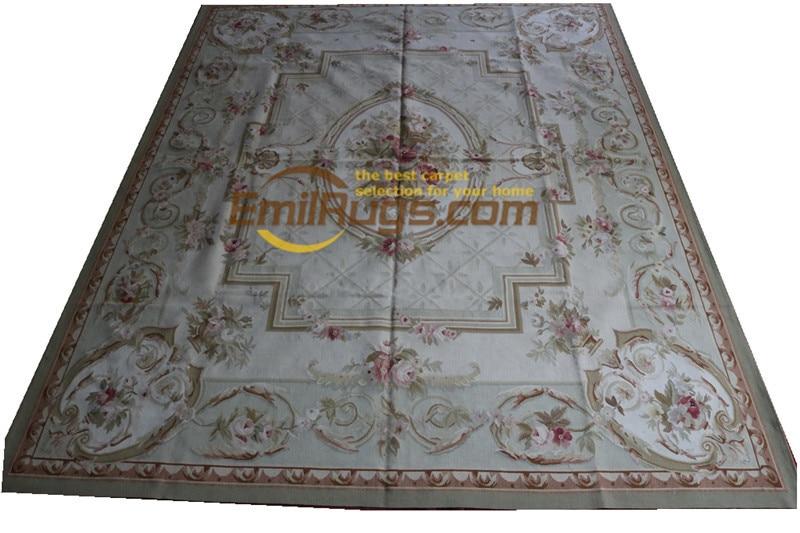 Alfombra de lana tejida a mano aubusson francés alfombras en 244CMX305CM 8X 10 Beige lado grande 18 8x10 (1)gc168aubyg28