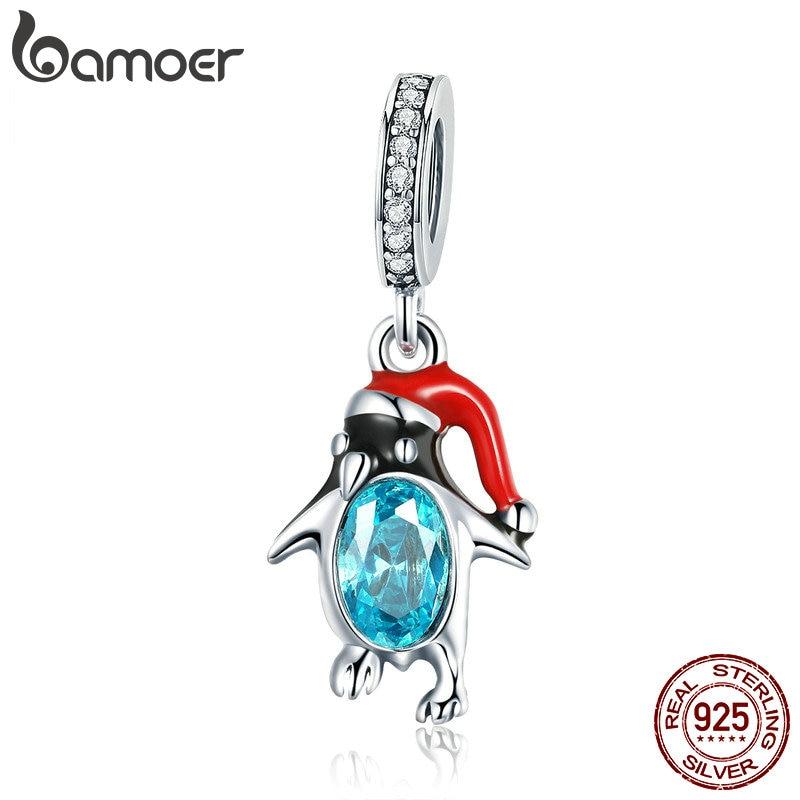 BAMOER 925 Sterling Silver Happy Penguin Pendant Colorful Enamel Animal Charms Fit Women Bracelets Bangles DIY Jewelry SCC993