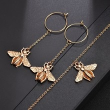 YANGQI Lovey Honeybee Insect Chain Drop Earrings Korean Gold Color Link Chain Earrings Long For Women Children Christmas Gift
