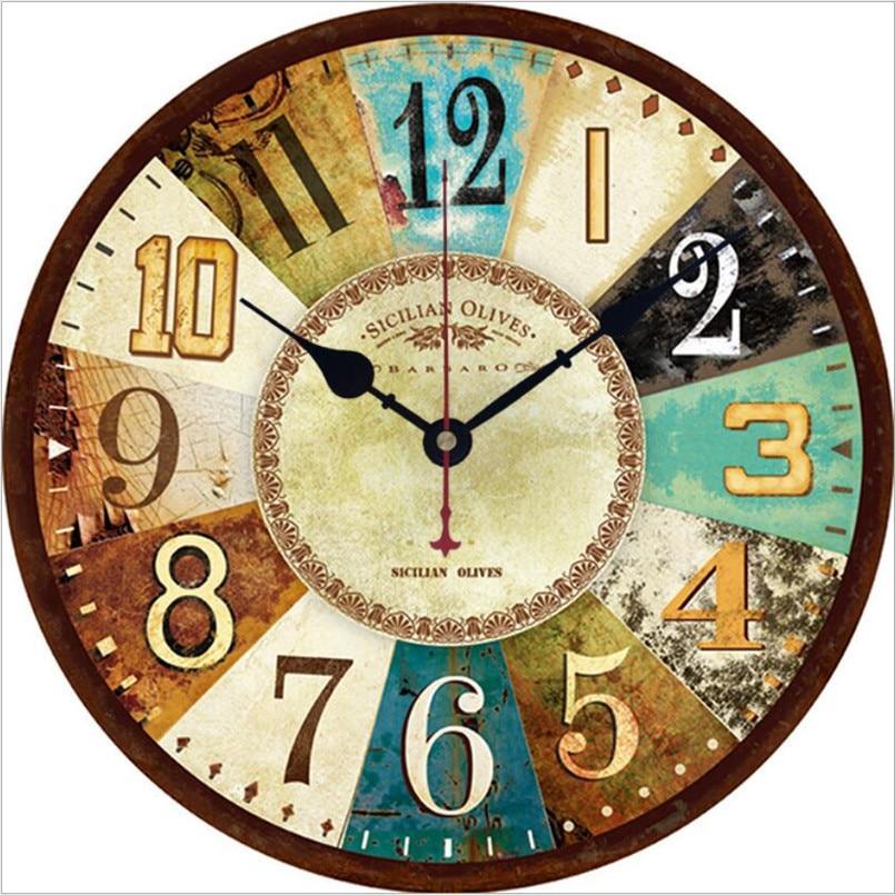 Nuevo reloj de pared 3D, reloj de pared de movimiento silencioso europeo de 30cm/34cm, reloj Retro Duvar Saati para sala de estar, reloj de estilo Industrial para Bar
