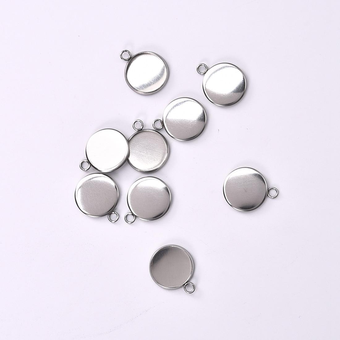 Base de cabujón redondo de acero inoxidable con bandejas de cristal en blanco para fabricación de joyería de colgantes 6/8/10/12/14/16/18/20/25mm