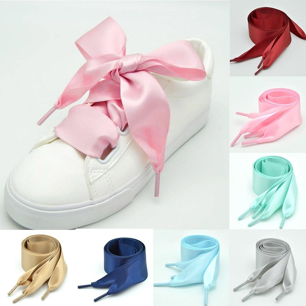 Flat Silk Shoes Laces Satin Silk Ribbon Sneaker Shoe Satin 2019 New Light Blue Pink Fashion Shining Strings 4Cm Wide Shoelaces