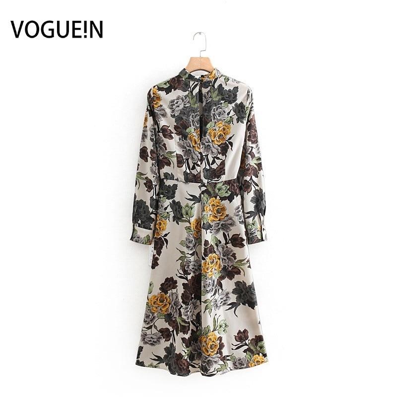 Voguein nova moda das mulheres do vintage floral impressão manga longa zíper midi vestido atacado