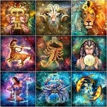 Huacan-peinture au diamant 5D   Signes détoiles, carré complet, mosaïque de diamant, dessin animé, broderie diamant, bricolage, Constellation, strass